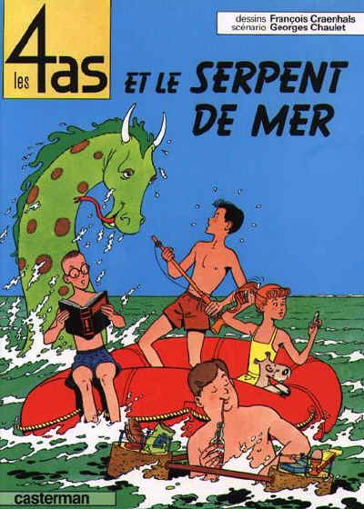 Cryptozoologie - bande dessinée - Georges Chaulet - François Craenhals - fiction - les 4 as et le serpent de mer - cryptide marin - mystère à Port Goéland - grand-serpent-de-mer - Caterman - bd - fiction - 1964